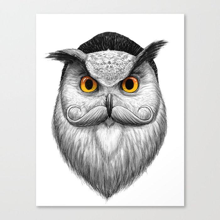 bearded owl Canvas Print