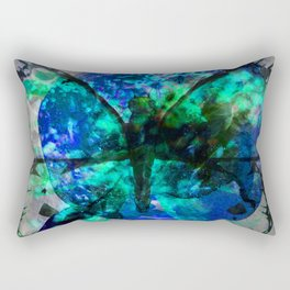 Blue green butterfly Rectangular Pillow