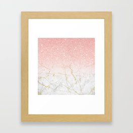 Rose Gold Glitter and gold white Marble Framed Art Print