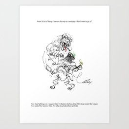 Two dogs fighting over a popped Dora the Explorer balloon. Art Print