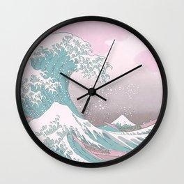 Pastel Great Wave off of Kanagawa  Wall Clock