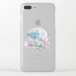 Beautiful Succulents Full Moon Teal Pink Clear iPhone Case