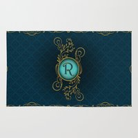monogram Area & Throw Rugs featuring Monogram R by Britta Glodde