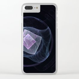 "Center Space black ""fractal"" Clear iPhone Case"