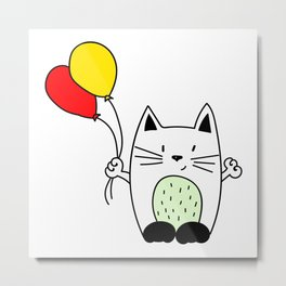 Cat with balloons Metal Print