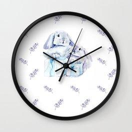 Cute Watercolor Rabbits Wall Clock