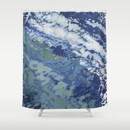 Deep Blue Ocean Wake Shower Curtain