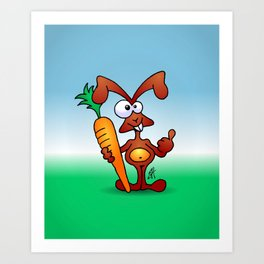 Bunny with a carrot Art Print