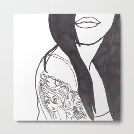 Girl With a Mermaid Tattoo Metal Print