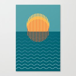 Minimalist Sunset Over Ocean, Travel Print, Sun Set Poster, Large Printable Photography, Wall Art Canvas Print