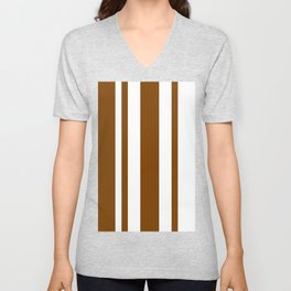 Mixed Vertical Stripes - White and Chocolate Brown Unisex V-Neck