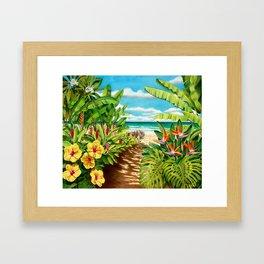 Floral Beach Path Framed Art Print