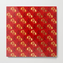 Gold Mandarin Ducks and Chinese love symbol Pattern Metal Print