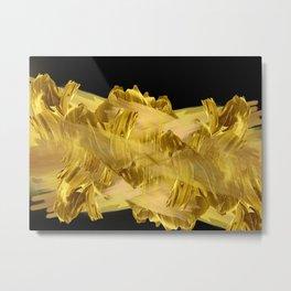 """Gold brushstrokes"" (Black) Metal Print"