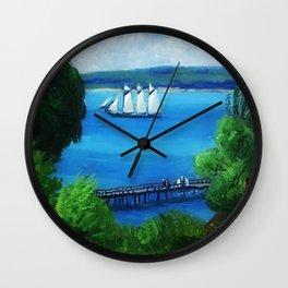 American Masterpiece 'Passing Schooner' by John French Sloan Wall Clock