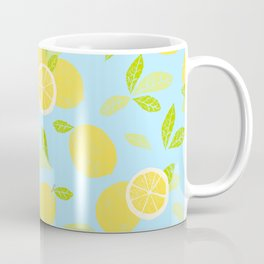 Bright And Sunny And Stamped Lemon Citrus Pattern Coffee Mug