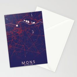 Mons, Belgium, Blue, White, City, Map Stationery Cards