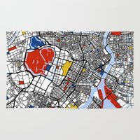 tokyo Area & Throw Rugs featuring Tokyo by Mondrian Maps