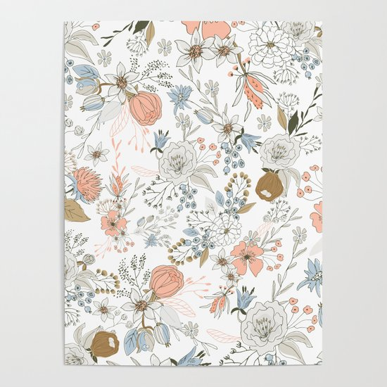 Abstract modern coral white pastel rustic floral by pink_water