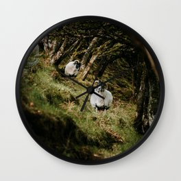 Scotland goat - landscape, nature, animals, greenland, meadow Wall Clock
