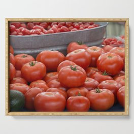A beautiful display of tomatoes at the Farmers Market Serving Tray