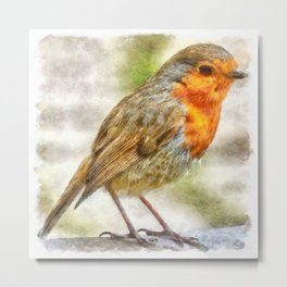 Christmas Robin Winter Watercolor Metal Print