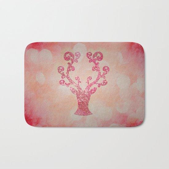 Pink sparkling glitter deer - Sparkle Effect Bath Mat