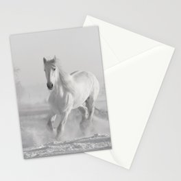 White Thoroughbred Horse Playing in Winter Snow black and white photograph / art photography Stationery Cards