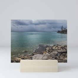 Stormy day at the beach Mini Art Print
