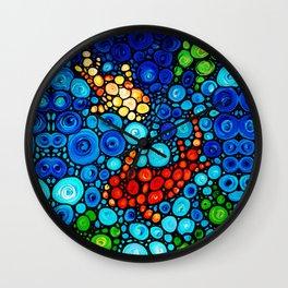 Pure Koi Joi - Mosaic Fish Art Painting by Sharon Cummings Wall Clock