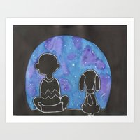 charlie brown Art Prints featuring Charlie Brown Wonderment by Sofia's Antics'