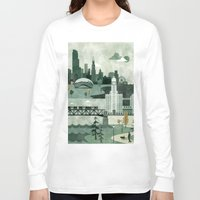 travel poster Long Sleeve T-shirts featuring Chicago Travel Poster Illustration by ClaireIllustrations