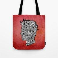 tyler durden Tote Bags featuring Typography Tyler Durden Uncensored by Adam Grey