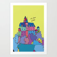 castle in the sky Art Prints featuring castle by PINT GRAPHICS