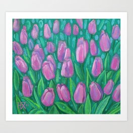 Pink Tulips Field Spring Blooming Flowers Pastel  Art Print