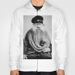 Kitten in the Beard of Old Man black and white photograph Hoody
