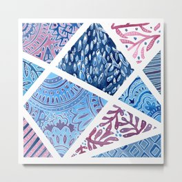 Sectional Patterns - Blue and Purple Metal Print