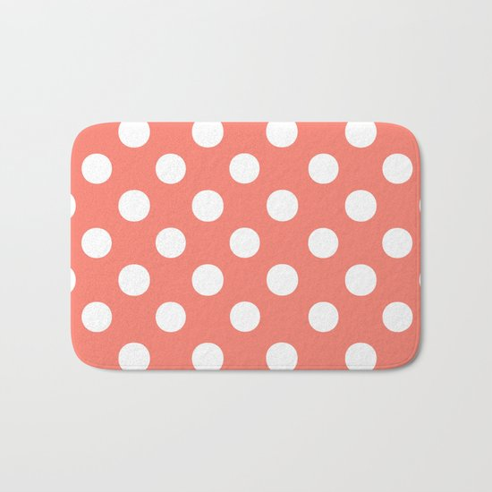Polka Dots (White/Salmon) Bath Mat