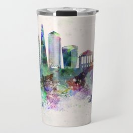 London V2 skyline in watercolor background Travel Mug