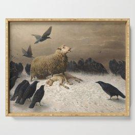 Anguish - August Friedrich Albrecht Schenck - Ravens and Sheep Serving Tray