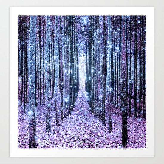 Magical Forest Lavender Ice Blue Periwinkle Art Print