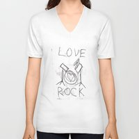 drums V-neck T-shirts featuring Love Rock Drums by Louise Court