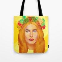 hemingway Tote Bags featuring Dree Hemingway by Alejo Malia