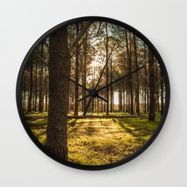 Sunset in the Pines Wall Clock