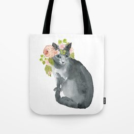 cat with flower crown Tote Bag