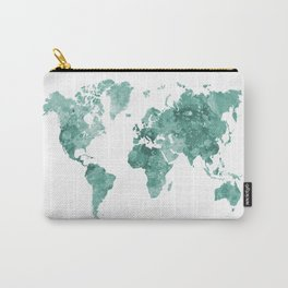 World map in watercolor green Carry-All Pouch