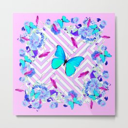 Turquoise Blue Butterflies Morning Glories Abstract Pattern Metal Print