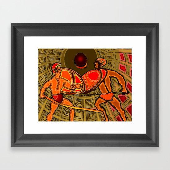 Gladiator Battle in the Pantheon Framed Art Print