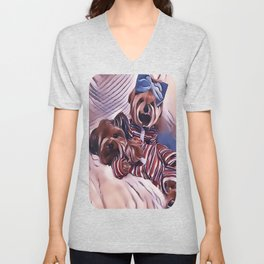 2 Yorkies Getting Ready For Bed Unisex V-Neck