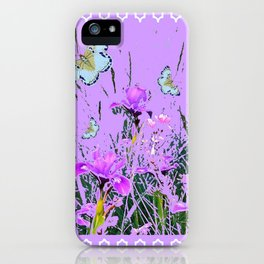 LILAC PURPLE MODERN FLOWERS ABSTRACT iPhone Case